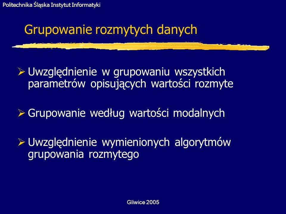 Politechnika Śląska Instytut Informatyki Gliwice 2005 Grupowanie rozmytych danych Uwzględnienie w grupowaniu wszystkich parametrów opisujących wartośc
