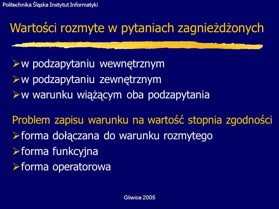 Politechnika Śląska Instytut Informatyki Gliwice 2005 Problem zapisu warunku na wartość stopnia zgodności forma dołączana do warunku rozmytego forma f