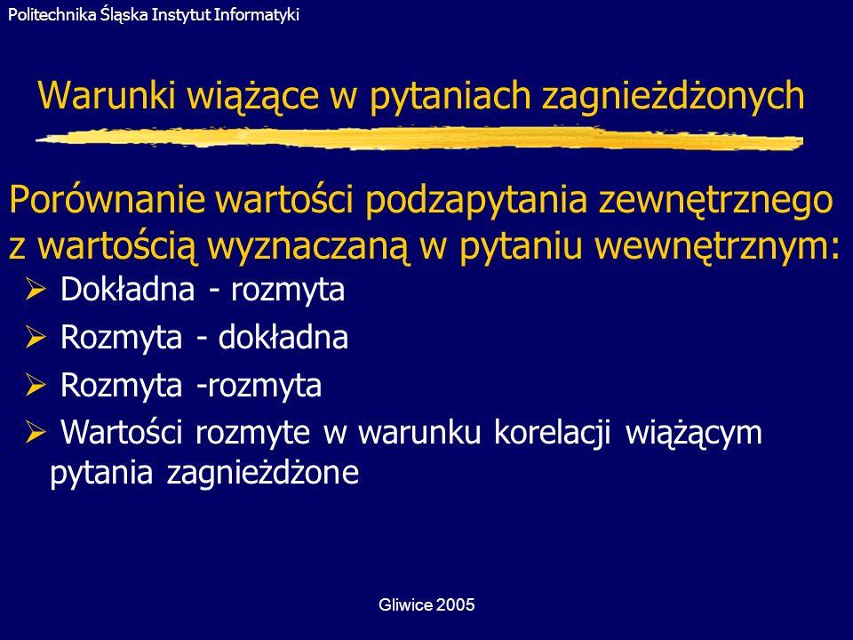 Politechnika Śląska Instytut Informatyki Gliwice 2005 Warunki wiążące w pytaniach zagnieżdżonych Porównanie wartości podzapytania zewnętrznego z warto