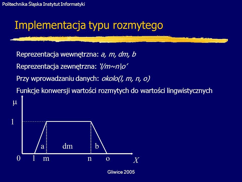 Politechnika Śląska Instytut Informatyki Gliwice 2005 Implementacja typu rozmytego X 0 l m n o a dm b Reprezentacja wewnętrzna: a, m, dm, b Reprezenta