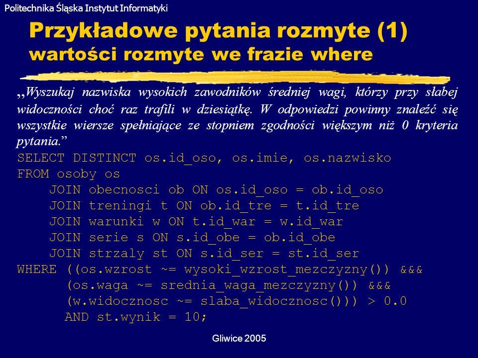 Politechnika Śląska Instytut Informatyki Gliwice 2005 Przykładowe pytania rozmyte (1) wartości rozmyte we frazie where Wyszukaj nazwiska wysokich zawo