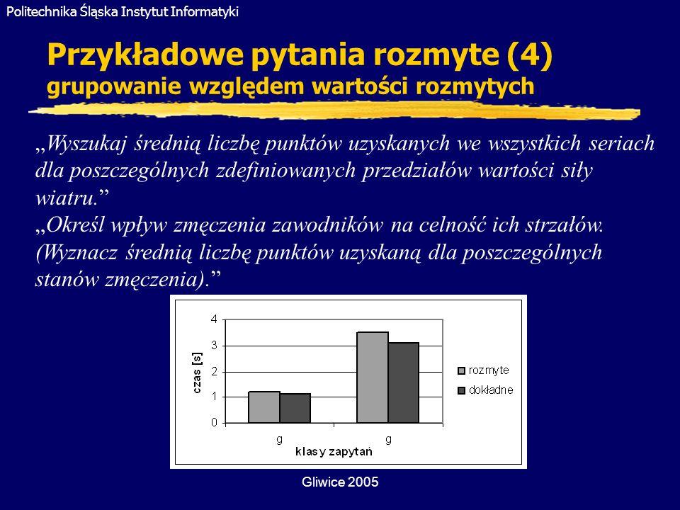Politechnika Śląska Instytut Informatyki Gliwice 2005 Przykładowe pytania rozmyte (4) grupowanie względem wartości rozmytych Wyszukaj średnią liczbę p