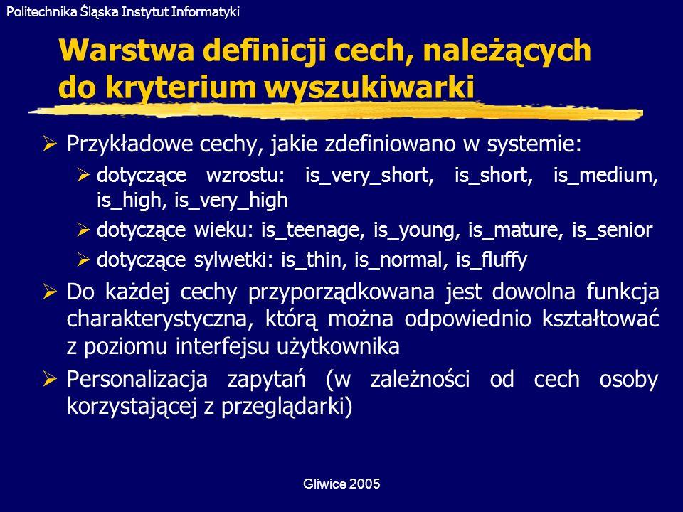Politechnika Śląska Instytut Informatyki Gliwice 2005 Warstwa definicji cech, należących do kryterium wyszukiwarki Przykładowe cechy, jakie zdefiniowa