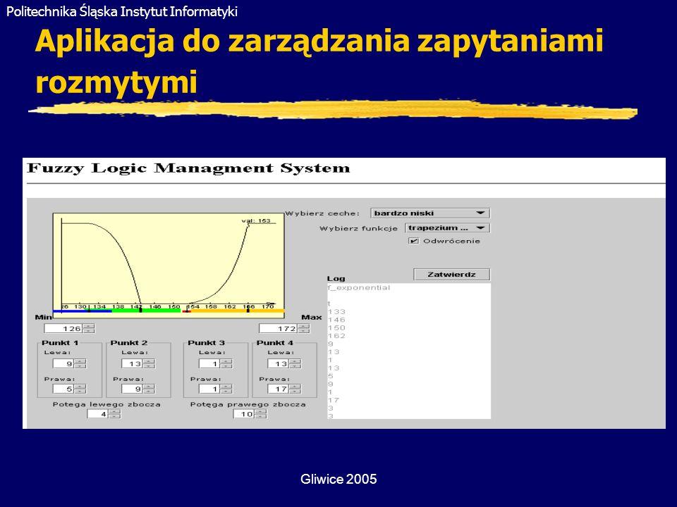 Politechnika Śląska Instytut Informatyki Gliwice 2005 Aplikacja do zarządzania zapytaniami rozmytymi
