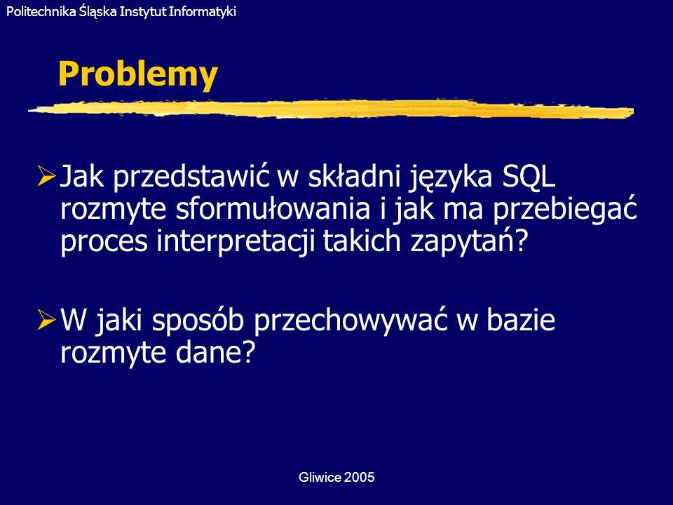 Politechnika Śląska Instytut Informatyki Gliwice 2005 Agregacja w pytaniach rozmytych (5) Agregacja wartości rozmytych Wyszukać te instytuty, których sumaryczne zapotrzebowanie na papier w danym roku wynosiło około 1000 ryz.