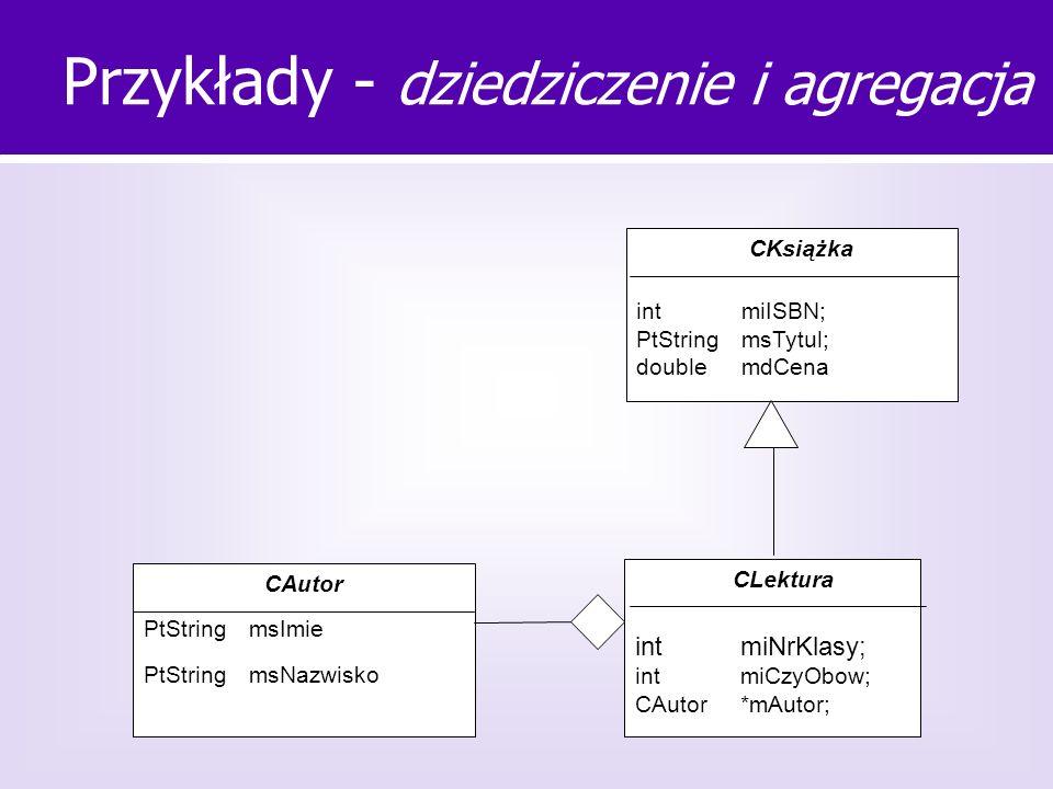 Przykłady - dziedziczenie i agregacja CAutor PtStringmsImie PtString msNazwisko CLektura intmiNrKlasy; intmiCzyObow; CAutor*mAutor; CKsiążka intmiISBN