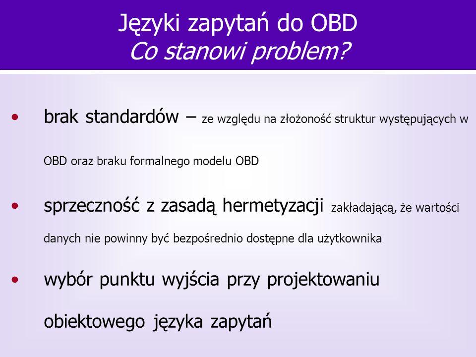 brak standardów – ze względu na złożoność struktur występujących w OBD oraz braku formalnego modelu OBD sprzeczność z zasadą hermetyzacji zakładającą,