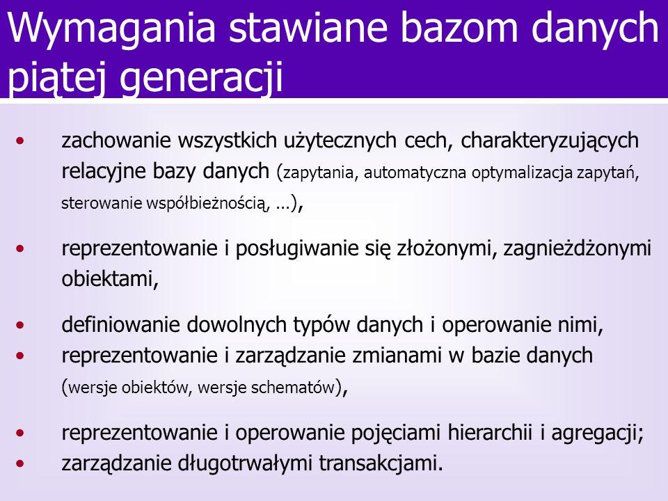Jasmine Przykłady zapytań Bag o; o = Osoba from Osoba; o.print(); Bag d_o; d_o = [o.imie, o.nazwisko, o.wiek()] from Osoba o; Bag d_o; d_o = [o.imie, o.nazwisko, o.wiek()] from Osoba o where o.wiek() < 40;