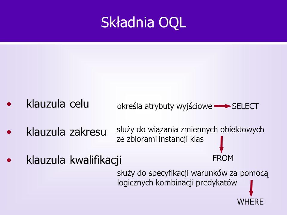 klauzula celu klauzula zakresu klauzula kwalifikacji Składnia OQL określa atrybuty wyjściowe SELECT służy do wiązania zmiennych obiektowych ze zbioram