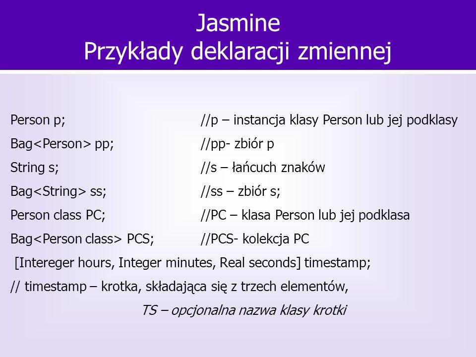 Person p;//p – instancja klasy Person lub jej podklasy Bag pp; //pp- zbiór p String s;//s – łańcuch znaków Bag ss; //ss – zbiór s; Person class PC; //