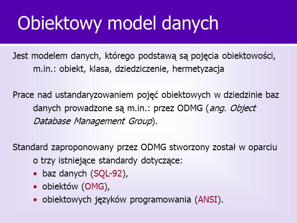 Podstawowe pojęcia obiektowego modelu danych obiekt tożsamość obiektu trwałość klasa (hierarchia klas) dziedziczenie hermetyzacja agregacja zamknięcie pewnego zestawu bytów programistycznych w kapsułę (obiekt, klasę moduł, etc.) o dobrze określonych granicach