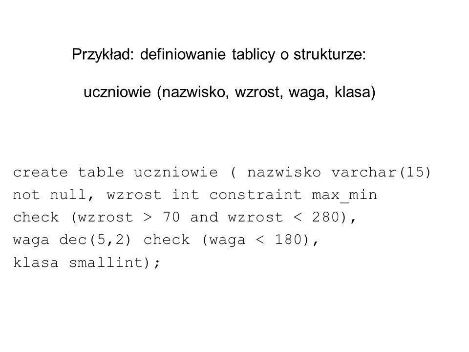 Przykład: definiowanie tablicy o strukturze: uczniowie (nazwisko, wzrost, waga, klasa) create table uczniowie (nazwisko varchar(15) not null,wzrost int constraint max_min check (wzrost > 70 and wzrost < 280), waga dec(5,2) check (waga < 180), klasa smallint);
