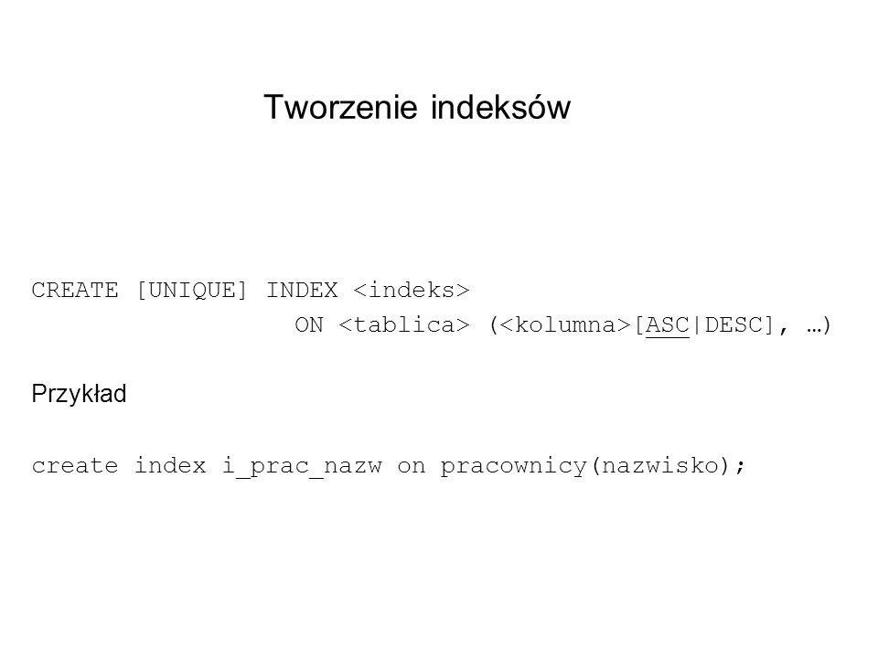 Tworzenie indeksów CREATE [UNIQUE] INDEX ON ( [ASC|DESC], …) Przykład create index i_prac_nazw on pracownicy(nazwisko);