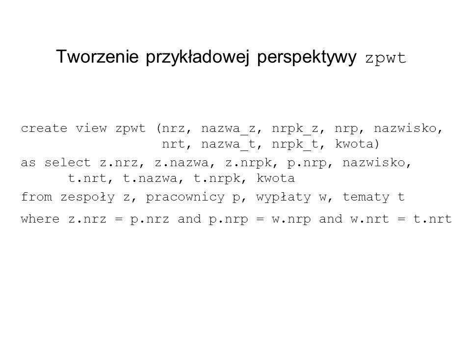 Tworzenie przykładowej perspektywy zpwt create view zpwt (nrz, nazwa_z, nrpk_z, nrp, nazwisko, nrt, nazwa_t, nrpk_t, kwota) as select z.nrz, z.nazwa, z.nrpk, p.nrp, nazwisko, t.nrt, t.nazwa, t.nrpk, kwota from zespoły z, pracownicy p, wypłaty w, tematy t where z.nrz = p.nrz and p.nrp = w.nrp and w.nrt = t.nrt