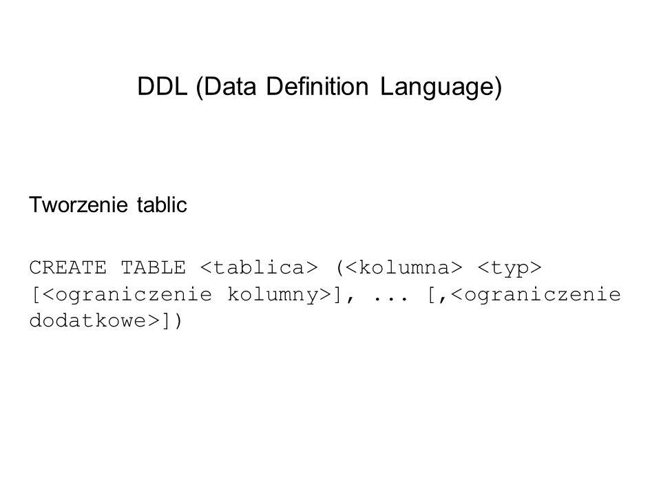 DDL (Data Definition Language) Tworzenie tablic CREATE TABLE ( [ ],... [, ])