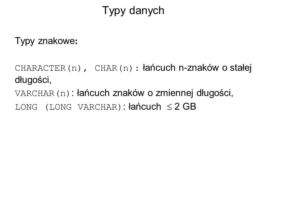 Typy danych Typy znakowe : CHARACTER(n), CHAR(n): łańcuch n-znaków o stałej długości, VARCHAR(n) : łańcuch znaków o zmiennej długości, LONG (LONG VARCHAR) : łańcuch 2 GB