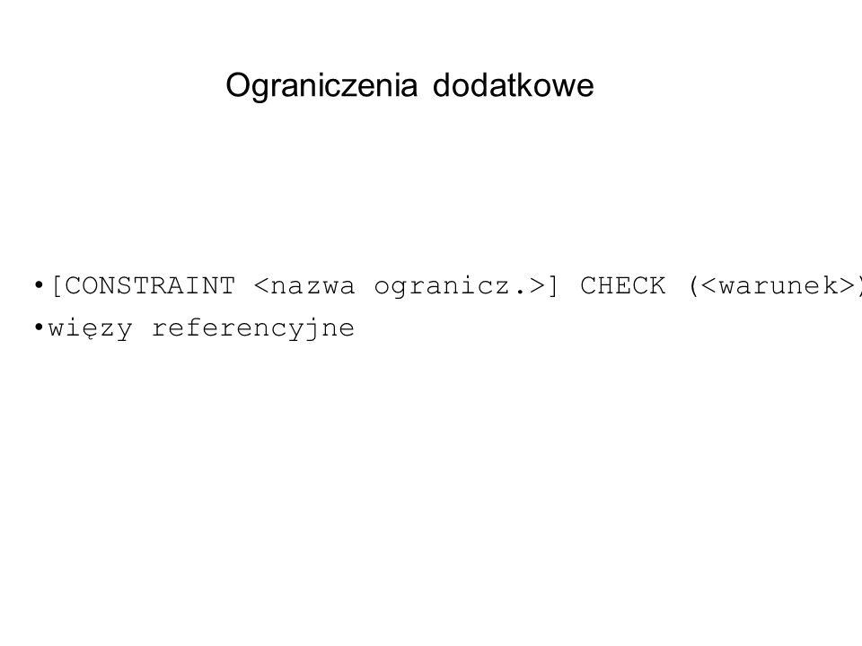 Ograniczenia dodatkowe [CONSTRAINT ] CHECK ( ) więzy referencyjne