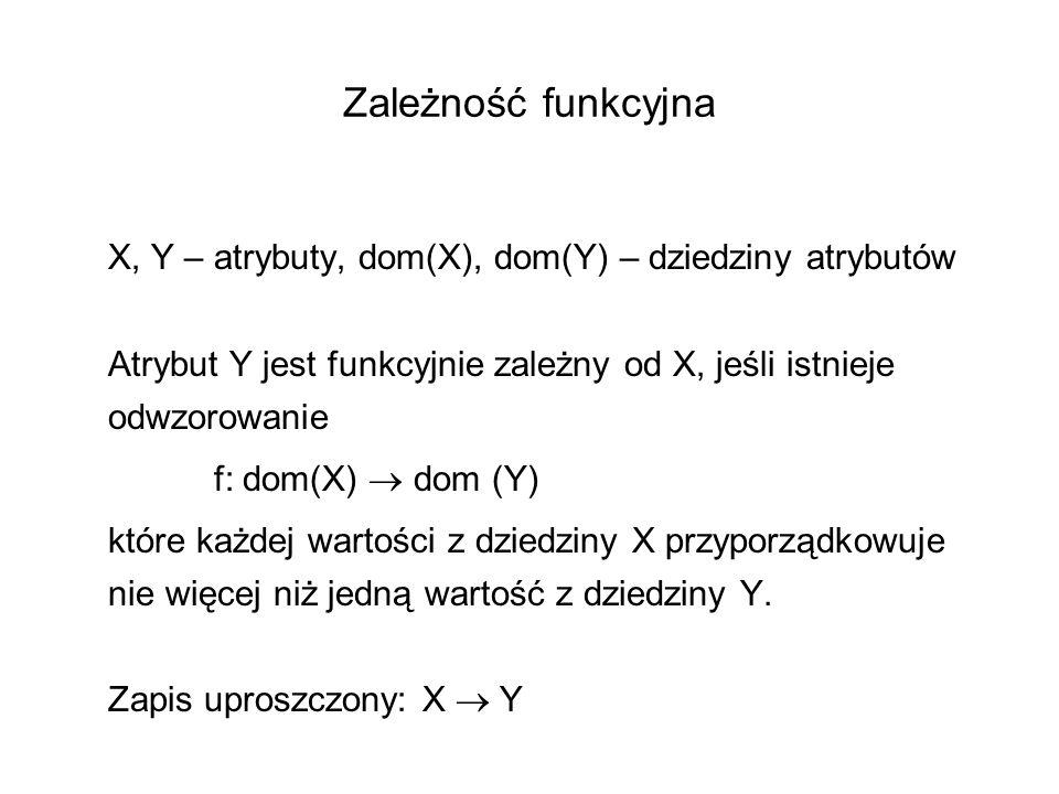 Zależność funkcyjna X, Y – atrybuty, dom(X), dom(Y) – dziedziny atrybutów Atrybut Y jest funkcyjnie zależny od X, jeśli istnieje odwzorowanie f: dom(X