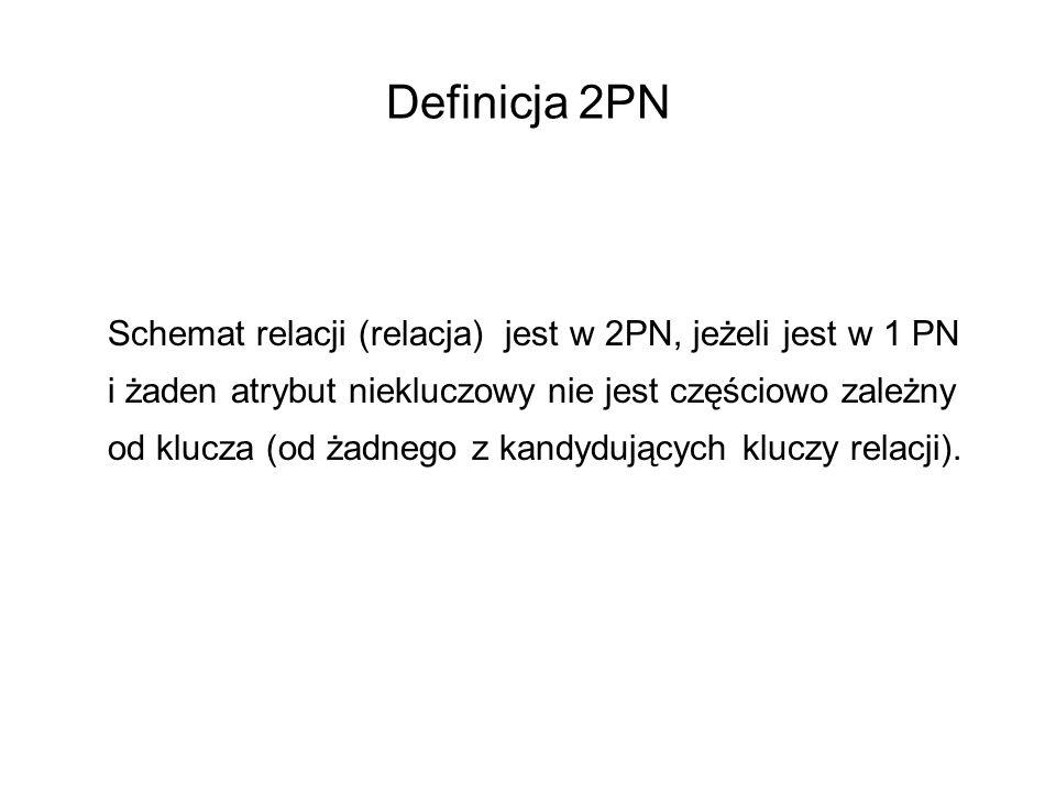 Definicja 2PN Schemat relacji (relacja) jest w 2PN, jeżeli jest w 1 PN i żaden atrybut niekluczowy nie jest częściowo zależny od klucza (od żadnego z