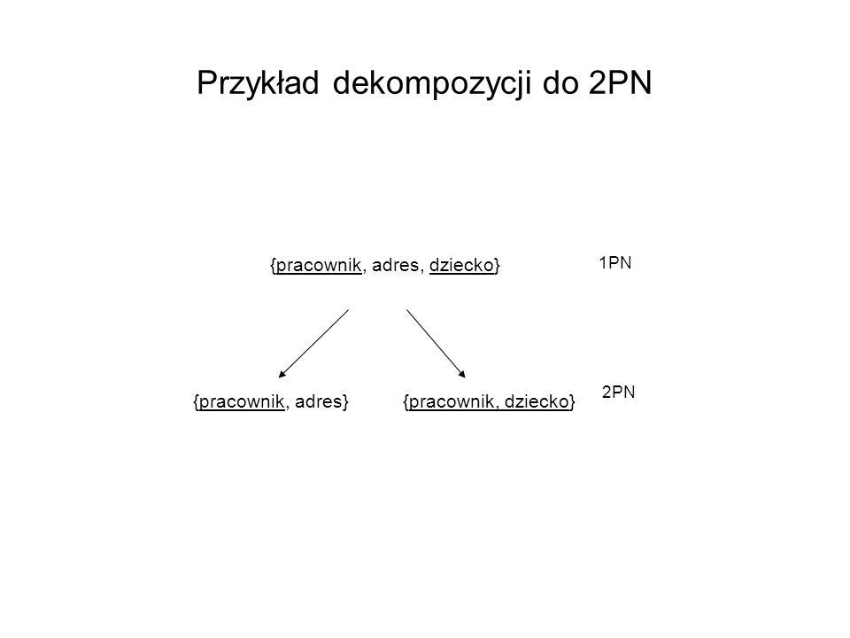 Przykład dekompozycji do 2PN {pracownik, adres, dziecko} {pracownik, adres}{pracownik, dziecko} 1PN 2PN