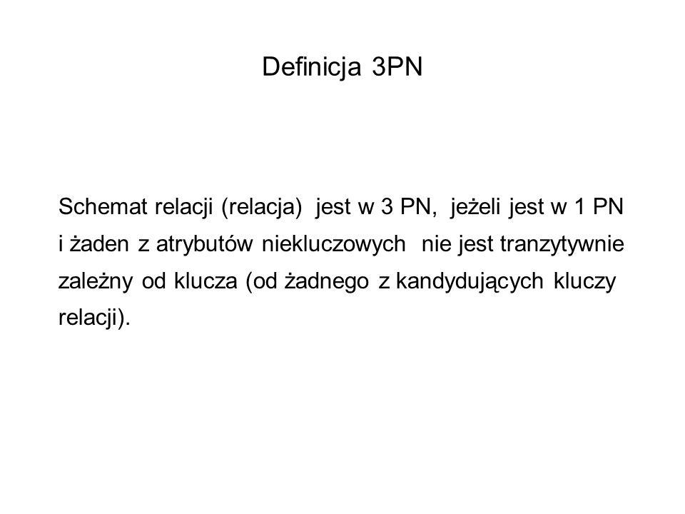 Definicja 3PN Schemat relacji (relacja) jest w 3 PN, jeżeli jest w 1 PN i żaden z atrybutów niekluczowych nie jest tranzytywnie zależny od klucza (od