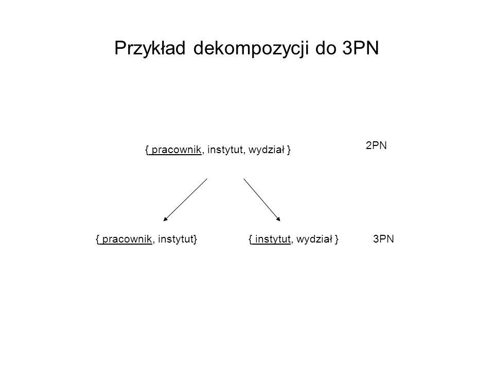 Przykład dekompozycji do 3PN { pracownik, instytut, wydział } { pracownik, instytut}{ instytut, wydział } 2PN 3PN