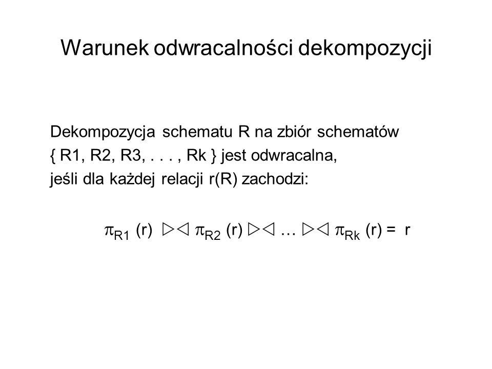Warunek odwracalności dekompozycji Dekompozycja schematu R na zbiór schematów { R1, R2, R3,..., Rk } jest odwracalna, jeśli dla każdej relacji r(R) za