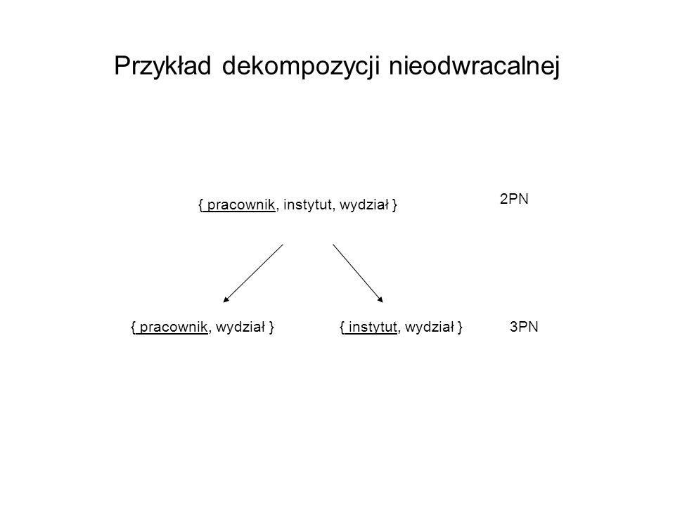 Przykład dekompozycji nieodwracalnej { pracownik, instytut, wydział } { pracownik, wydział }{ instytut, wydział } 2PN 3PN