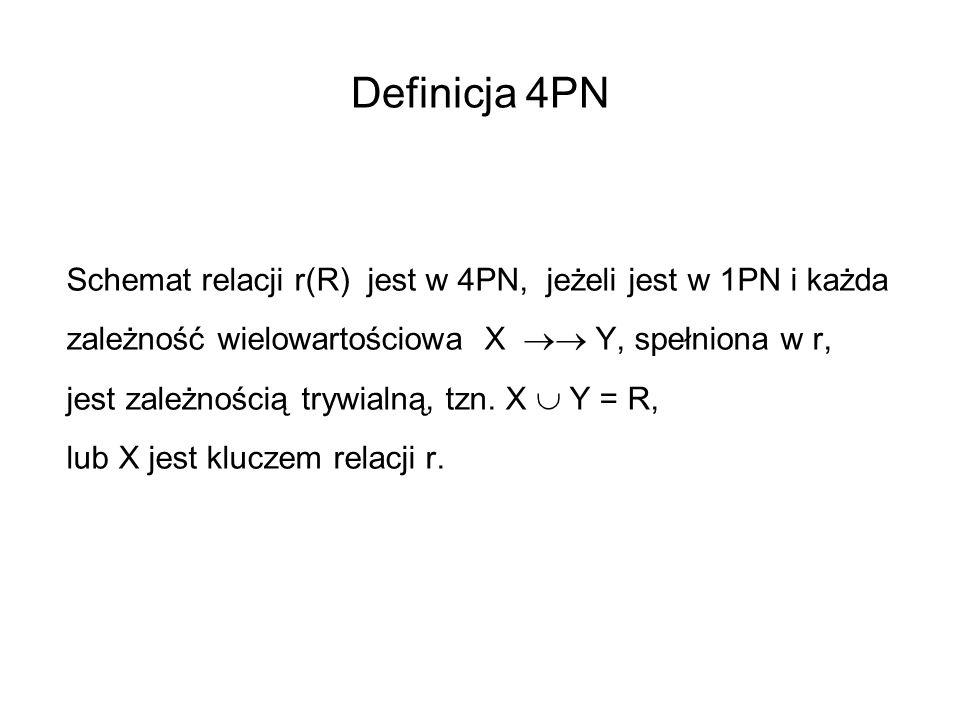 Definicja 4PN Schemat relacji r(R) jest w 4PN, jeżeli jest w 1PN i każda zależność wielowartościowa X Y, spełniona w r, jest zależnością trywialną, tz