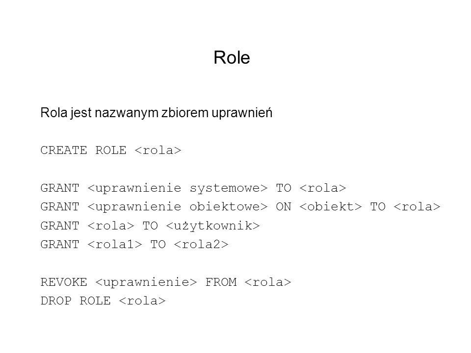 Role Rola jest nazwanym zbiorem uprawnień CREATE ROLE GRANT TO GRANT ON TO GRANT TO REVOKE FROM DROP ROLE