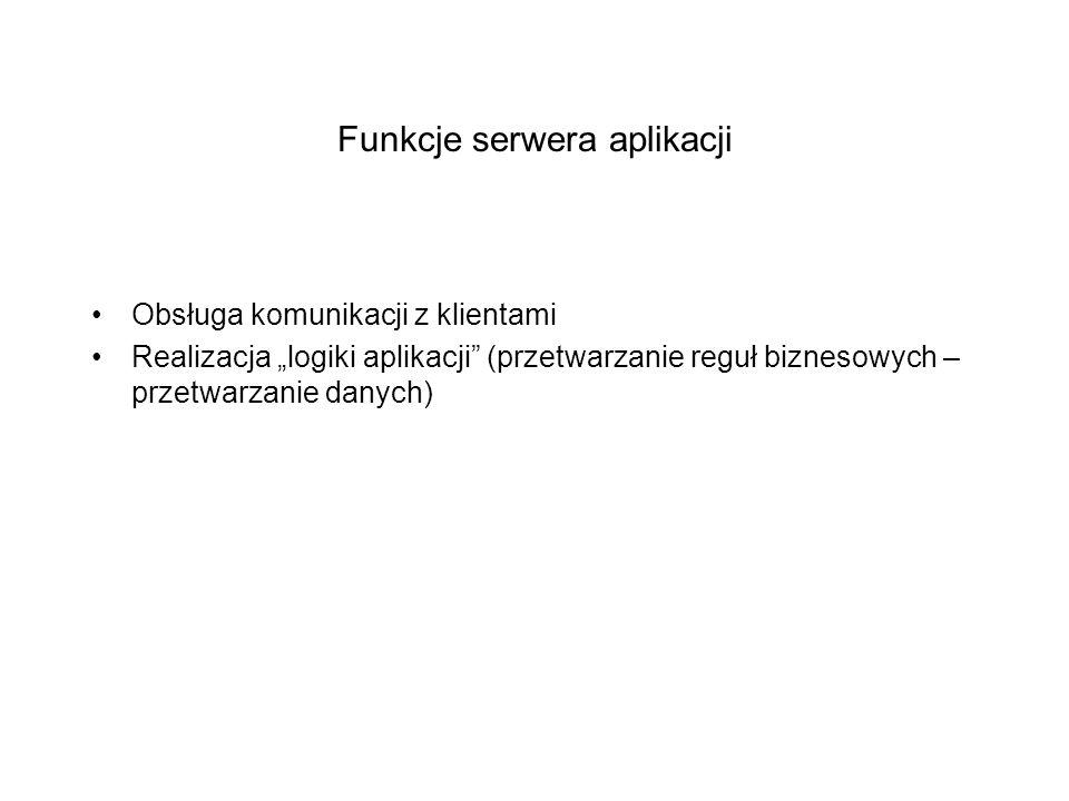 Funkcje serwera aplikacji Obsługa komunikacji z klientami Realizacja logiki aplikacji (przetwarzanie reguł biznesowych – przetwarzanie danych)