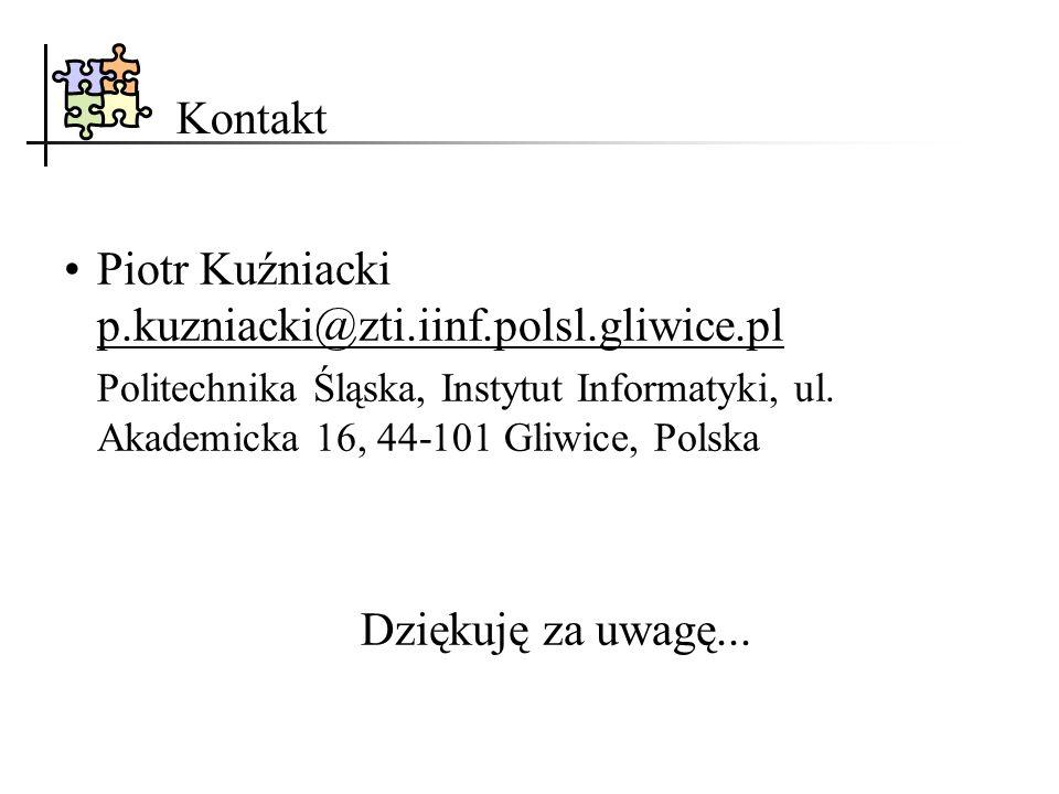 Kontakt Piotr Kuźniacki p.kuzniacki@zti.iinf.polsl.gliwice.pl Politechnika Śląska, Instytut Informatyki, ul. Akademicka 16, 44 101 Gliwice, Polska Dzi