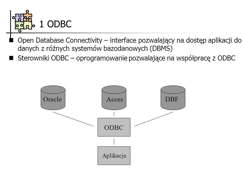 1 ODBC Open Database Connectivity – interface pozwalający na dostęp aplikacji do danych z różnych systemów bazodanowych (DBMS) Sterowniki ODBC – oprogramowanie pozwalające na współpracę z ODBC OracleAccesDBF ODBC Aplikacja
