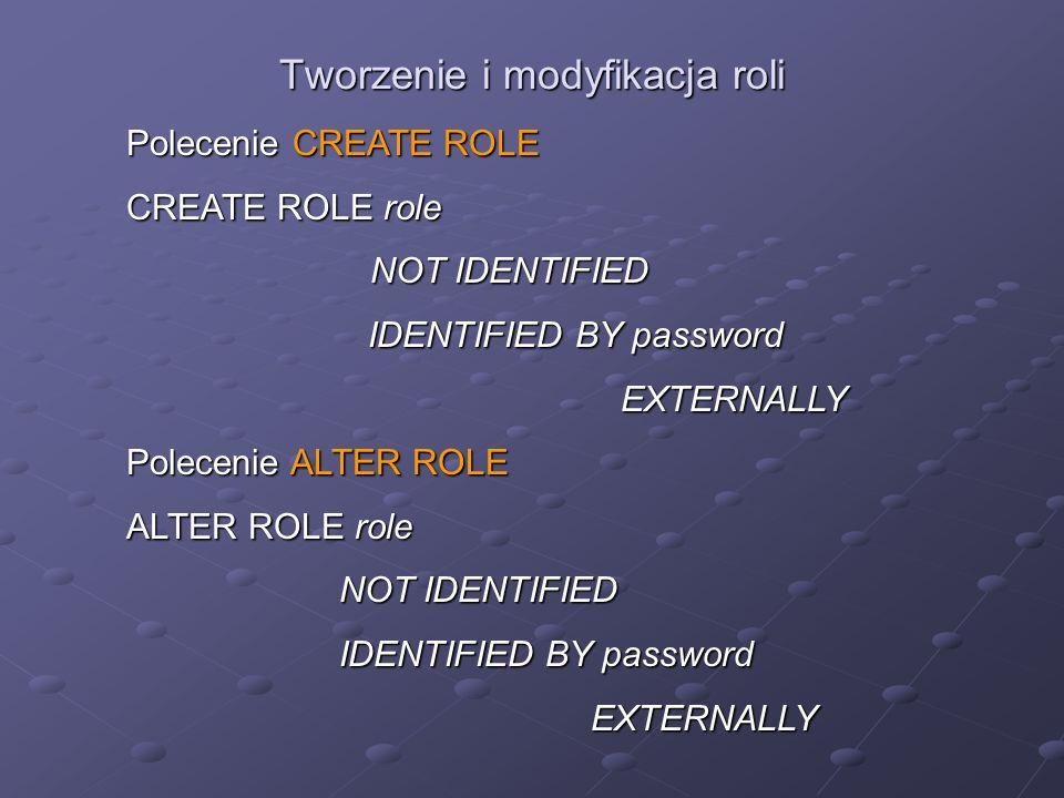 Tworzenie i modyfikacja roli Polecenie CREATE ROLE CREATE ROLE role NOT IDENTIFIED NOT IDENTIFIED IDENTIFIED BY password IDENTIFIED BY password EXTERN