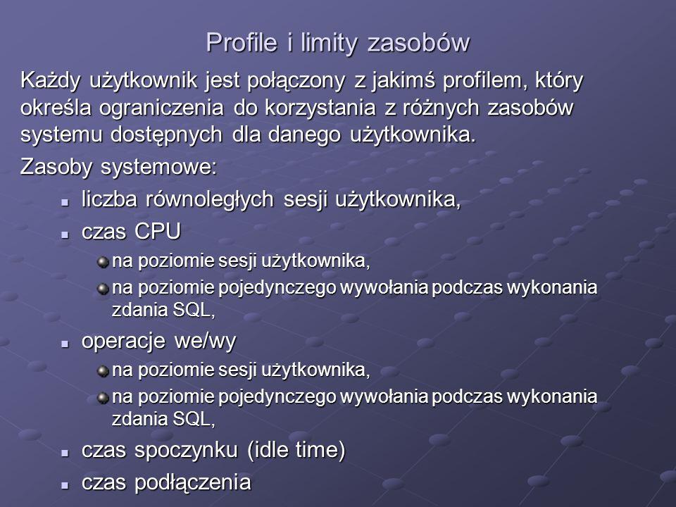 Profile i limity zasobów Każdy użytkownik jest połączony z jakimś profilem, który określa ograniczenia do korzystania z różnych zasobów systemu dostęp