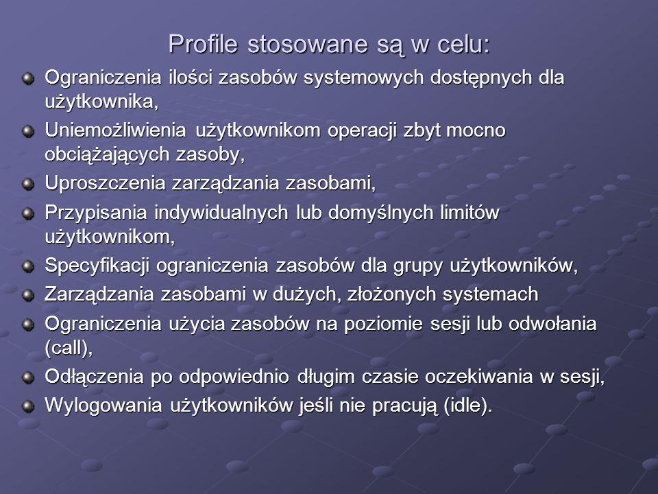 Profile stosowane są w celu: Ograniczenia ilości zasobów systemowych dostępnych dla użytkownika, Uniemożliwienia użytkownikom operacji zbyt mocno obci