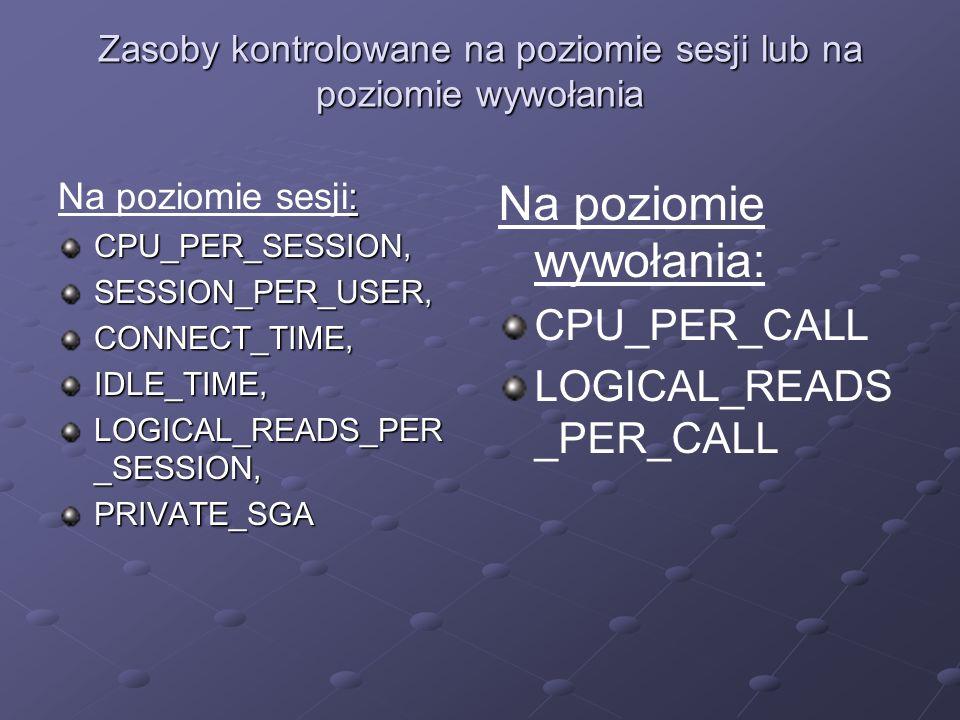 Zasoby kontrolowane na poziomie sesji lub na poziomie wywołania : Na poziomie sesji:CPU_PER_SESSION,SESSION_PER_USER,CONNECT_TIME,IDLE_TIME, LOGICAL_R