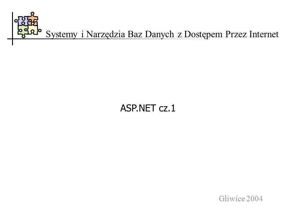 Gliwice 2004 Systemy i Narzędzia Baz Danych z Dostępem Przez Internet ASP.NET cz.1
