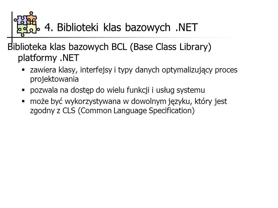 4. Biblioteki klas bazowych.NET Biblioteka klas bazowych BCL (Base Class Library) platformy.NET zawiera klasy, interfejsy i typy danych optymalizujący