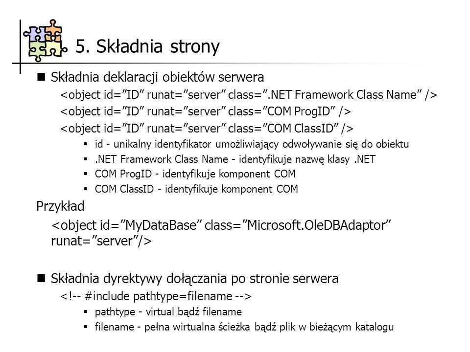 Składnia deklaracji obiektów serwera id - unikalny identyfikator umożliwiający odwoływanie się do obiektu.NET Framework Class Name - identyfikuje nazw