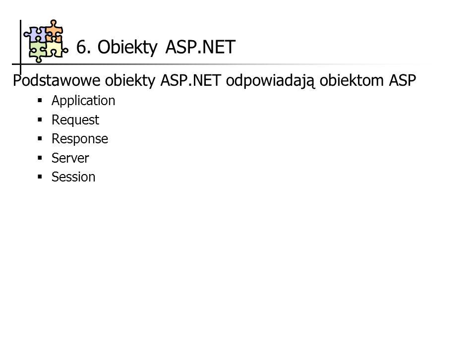 6. Obiekty ASP.NET Podstawowe obiekty ASP.NET odpowiadają obiektom ASP Application Request Response Server Session
