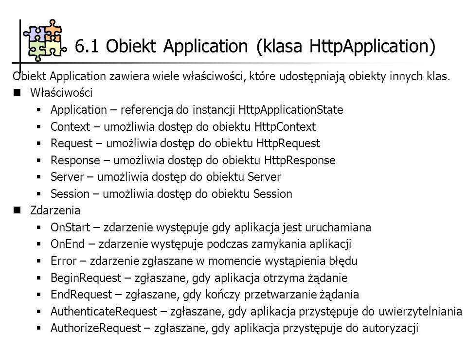 6.1 Obiekt Application (klasa HttpApplication) Obiekt Application zawiera wiele właściwości, które udostępniają obiekty innych klas. Właściwości Appli