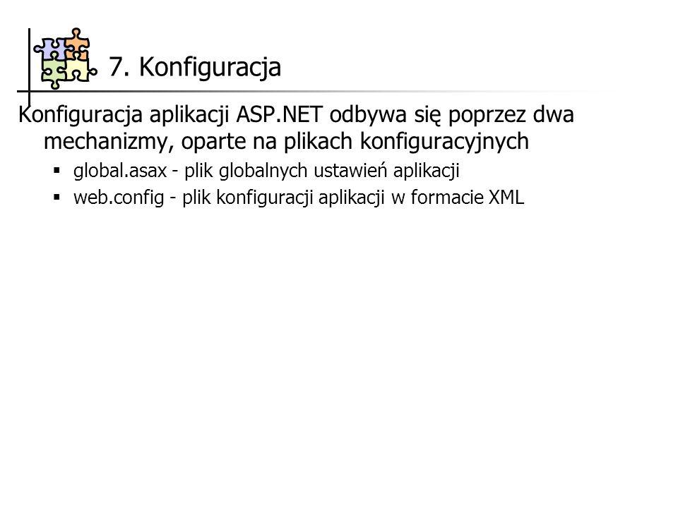 7. Konfiguracja Konfiguracja aplikacji ASP.NET odbywa się poprzez dwa mechanizmy, oparte na plikach konfiguracyjnych global.asax - plik globalnych ust