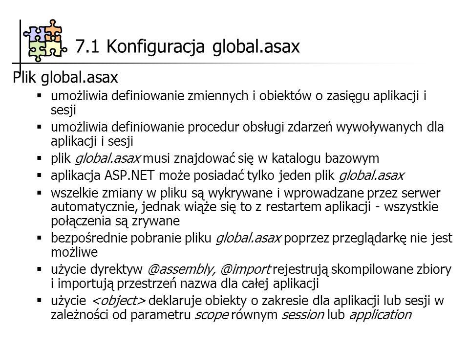 7.1 Konfiguracja global.asax Plik global.asax umożliwia definiowanie zmiennych i obiektów o zasięgu aplikacji i sesji umożliwia definiowanie procedur