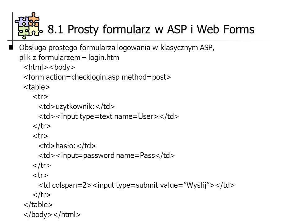 8.1 Prosty formularz w ASP i Web Forms Obsługa prostego formularza logowania w klasycznym ASP, plik z formularzem – login.htm użytkownik: hasło: