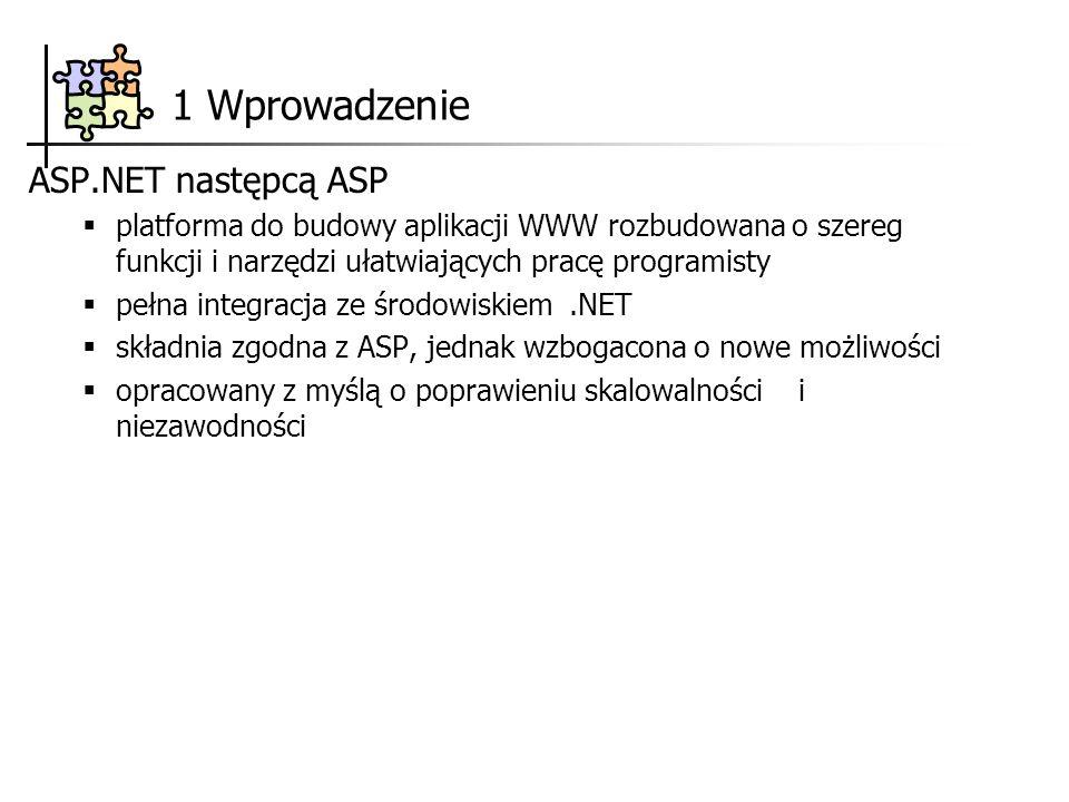 1 Wprowadzenie ASP.NET następcą ASP platforma do budowy aplikacji WWW rozbudowana o szereg funkcji i narzędzi ułatwiających pracę programisty pełna in
