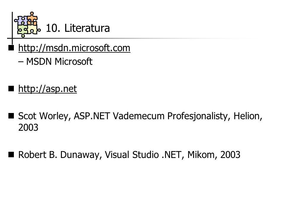 10. Literatura http://msdn.microsoft.com – MSDN Microsoft http://asp.net Scot Worley, ASP.NET Vademecum Profesjonalisty, Helion, 2003 Robert B. Dunawa
