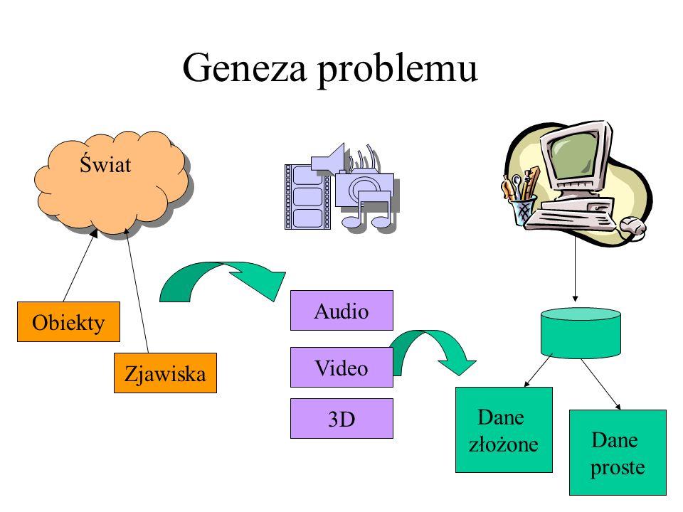 Cechy multimedialnych baz danych Zawierają materiały typu: obraz, dźwięk animacja, sekwencja video Posiadają mechanizmy zarządzania treścią, a nie tylko składowania Dysponują specyficzną funkcjonalnością dedykowaną multimediom Oferują typy danych dla multimediów