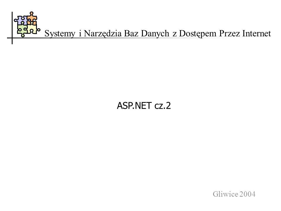 Gliwice 2004 Systemy i Narzędzia Baz Danych z Dostępem Przez Internet ASP.NET cz.2