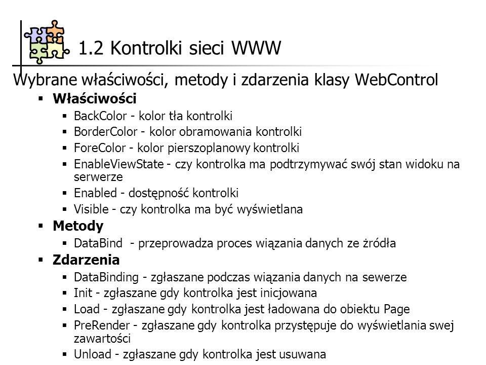 1.2 Kontrolki sieci WWW Wybrane właściwości, metody i zdarzenia klasy WebControl Właściwości BackColor - kolor tła kontrolki BorderColor - kolor obramowania kontrolki ForeColor - kolor pierszoplanowy kontrolki EnableViewState - czy kontrolka ma podtrzymywać swój stan widoku na serwerze Enabled - dostępność kontrolki Visible - czy kontrolka ma być wyświetlana Metody DataBind - przeprowadza proces wiązania danych ze żródła Zdarzenia DataBinding - zgłaszane podczas wiązania danych na sewerze Init - zgłaszane gdy kontrolka jest inicjowana Load - zgłaszane gdy kontrolka jest ładowana do obiektu Page PreRender - zgłaszane gdy kontrolka przystępuje do wyświetlania swej zawartości Unload - zgłaszane gdy kontrolka jest usuwana